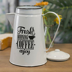 White Metal Enamelware Coffee Pot