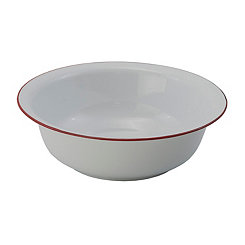 White and Red Metal Enamelware Bowl
