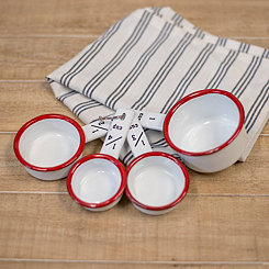 White and Red Metal Enamelware Measuring Cup Set
