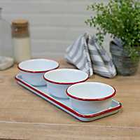 White and Red Metal Enamelware Bowl and Tray Set
