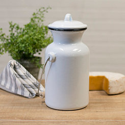 White Metal Enamelware Milk Jug with Lid