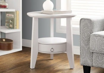 White 1-Drawer Accent Table