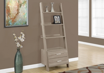 Reclaimed Wood 2-Drawer Ladder Bookcase