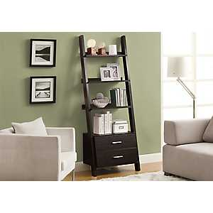 Cappuccino 2-Drawer Ladder Bookcase