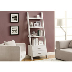 White 2-Drawer Ladder Bookcase