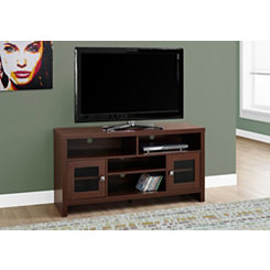 Warm Cherry Glass Door Media Cabinet