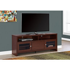 Long Warm Cherry Glass Door Media Cabinet
