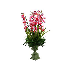 Pink Cymbidium Orchid Arrangement in Pedestal Bowl