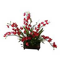Purple Cymbidium Orchid Arrangement in Planter