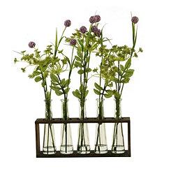 Lavender Globes in Wooden Glass Vial Runner