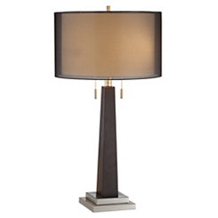 Wood and Silver Table Lamp
