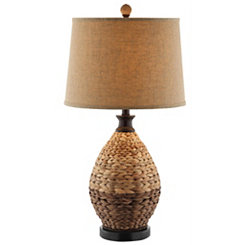 Two-Tone Woven Rattan Table Lamp