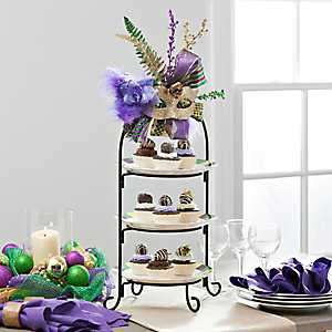 3-Tier Cake Stand Server with Mardi Gras Décor