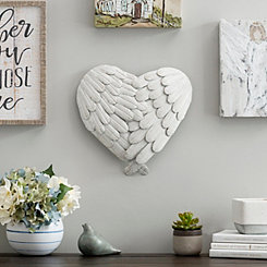 4-Layered White Angel Wings Heart Wall Plaque