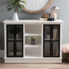 Distressed Black and White Emma Wood Cabinet