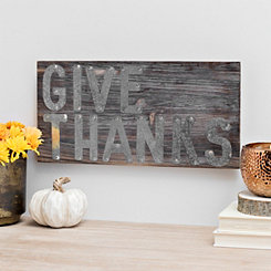 Galvanized Give Thanks Wood Pallet Sign Plaque