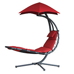 Cherry Red Dream Lounge Chair with Umbrella
