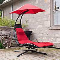 Cherry Red Swivel Dream Lounger with Umbrella