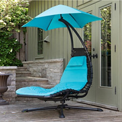 Turquoise Swivel Dream Lounger with Umbrella