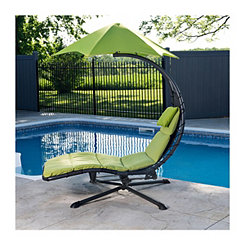 Green Swivel Dream Lounger with Umbrella