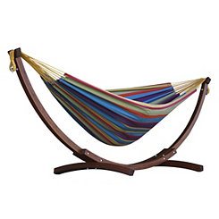 Tropical Double Hammock with Wooden Stand