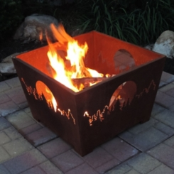 Forest and Moon Box Fire Pit