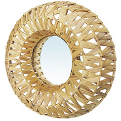 Natural Woven Basket Wall Mirror