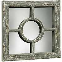 Weathered Wooden Wall Mirror