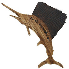 Wood and Metal Marlin Wall Plaque