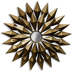 Gold Metal Starburst Wall Plaque