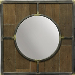 Wood and Metal Framed Round Wall Mirror