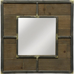 Wood and Metal Framed Square Wall Mirror