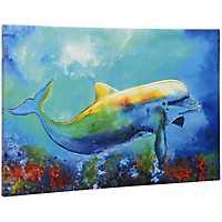 Tropical Dolphin Canvas Art Print