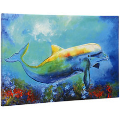 Tropical Dolphin Canvas Art Print