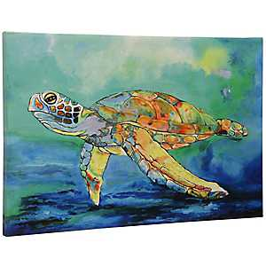 Tropical Sea Turtle Canvas Art Print