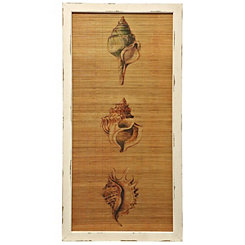 Shells on Straw Wooden Wall Plaque
