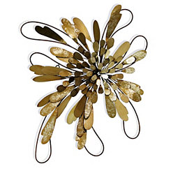 Blooming Brass Leaflets Metal Wall Plaque