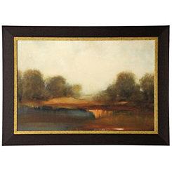 Hazy Landscape Framed Art Print