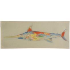 Coastal Fish Linen Canvas Art Print