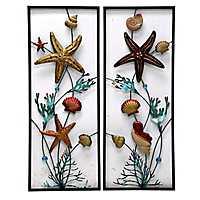 Nautical Metal Panel Plaques, Set of 2