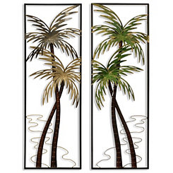 Tropical Palms Metal Panel Plaques, Set of 2
