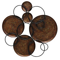 Hammered Copper Circles Wall Plaque
