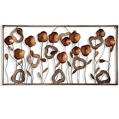 Silver and Copper Flower Field Metal Wall Plaque