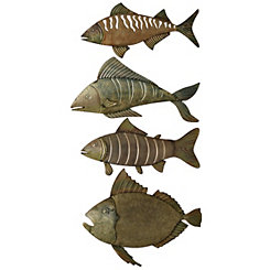 Unpolished Fish Metal Wall Plaques, Set of 4
