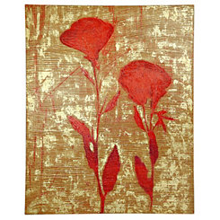 Red and Gold Floral Silhouette Canvas Art Print
