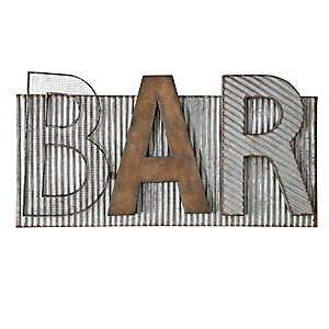 Bar Galvanized Metal Sign Plaque