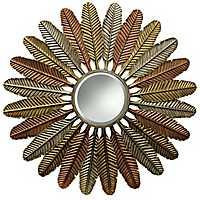 Metallic Metal Feathers Wall Mirror