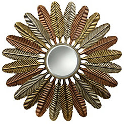 Metallic Metal Feathers Wall Mirror