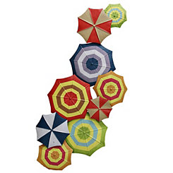 Multicolored Umbrella Tops Wall Plaque