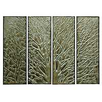 Embossed Tree Metal Panel Plaques, Set of 4
